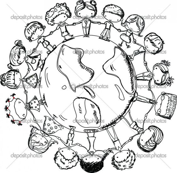 Children Holding Hands around World Coloring Page, Cute