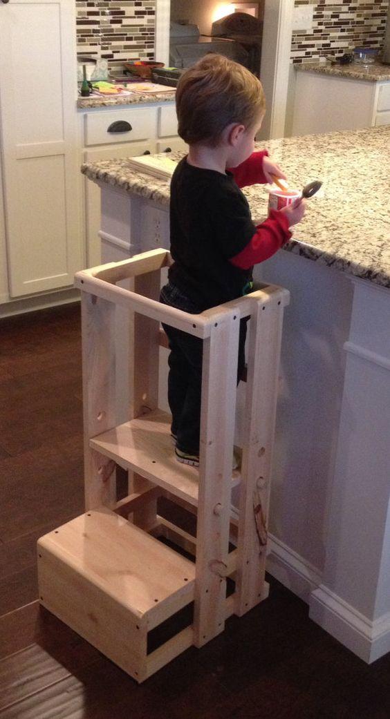 Child Kitchen Helper Step Stool by TeddyGramsTotTowers on