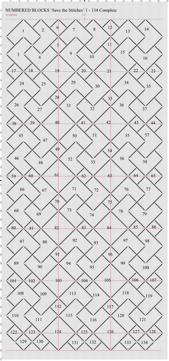 'Save the Stitches' Numbered Master Sheet. Free project by