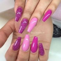 pretty girly shades of pink and sparkly purple nails ...