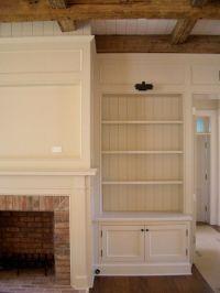 built in bookshelves for around fireplace. i love ceiling ...