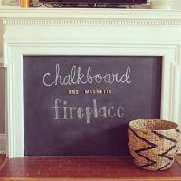 Fun DIY chalkboard (and magnetic!) fireplace cover on the