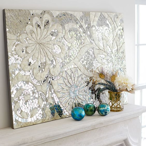 Silver Floral Capiz Wall Panel Wood Home Decor Wall