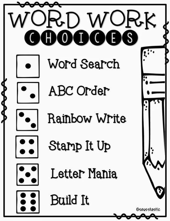 Word work, Word work activities and Daily 5 on Pinterest