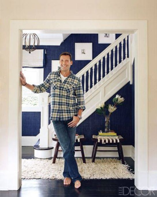 Wallpaper in entry-Phillip Jeffries raffia. Love the contrast between the navy and white.: