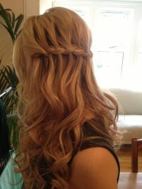 Waterfall braid wedding hair