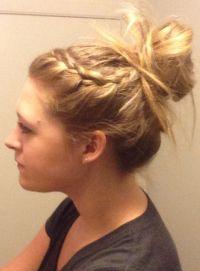 Braided Hair Bun With Bangs | french braided bangs back ...