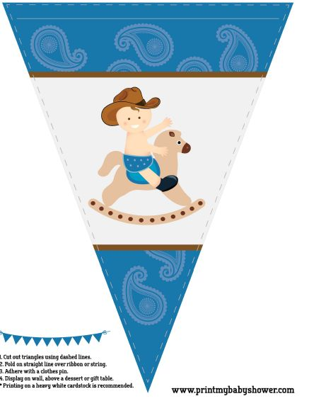 Printable banner for a cowboy baby shower