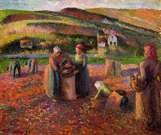Potato Harvest~ Camille Pissarro | Lone Quixote | #CamillePissarro #pissarro #impressionism #art #painting: