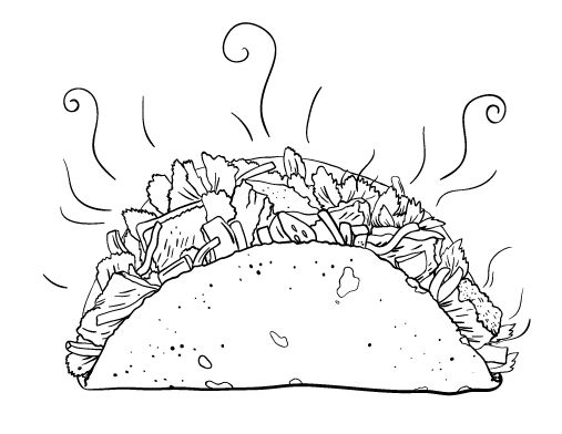 Printable taco coloring page. Free PDF download at http