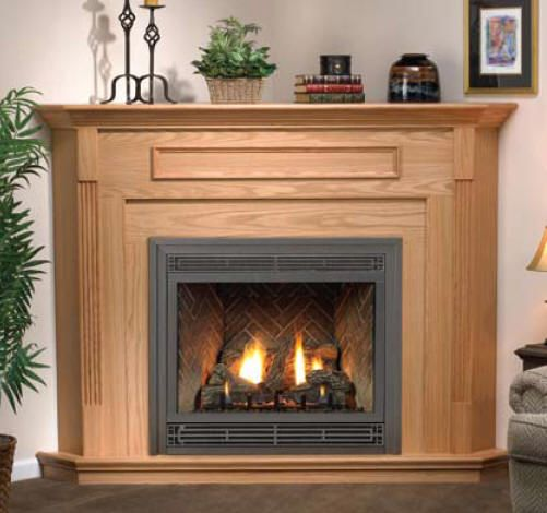 wood mantel and surround for corner gas fireplace