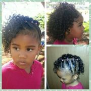 side twists with curls. mixed babies