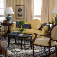 Yellow striped wallpaper is a great classic European style ...
