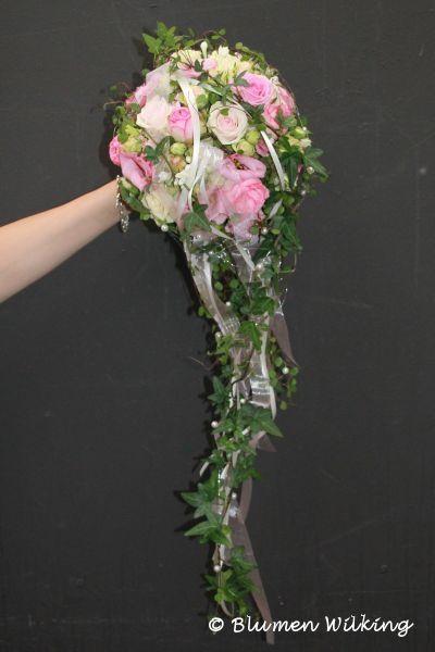 Brautstrau in rosa mit Rosen und Eustoma Abflieende