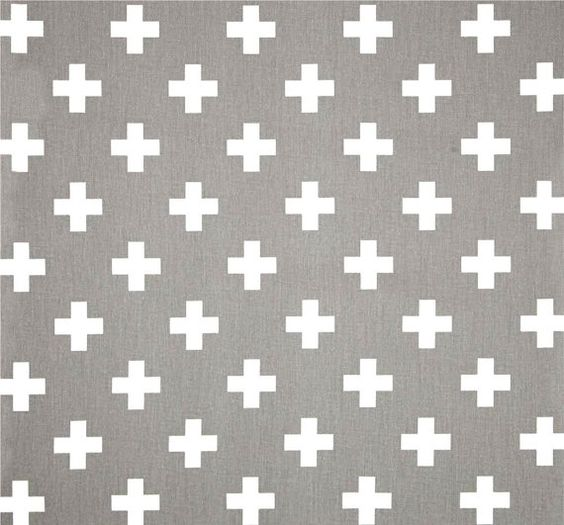 Gray & White Cross Cotton Fabric By The Yard Designer