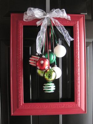 Christmas Ornament Decorations Holidays Ornaments Decor Frame Polka Dots Stripes Ribbon Bow Red Green Wreath Framed DIY Front Door