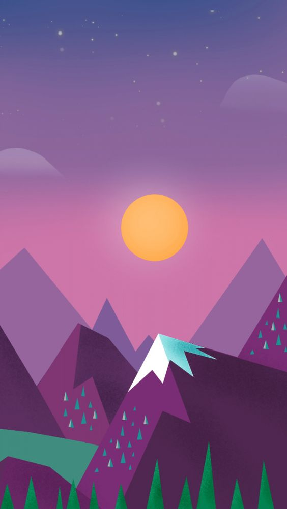 Starry night. Tap for landscape in material design iPhone