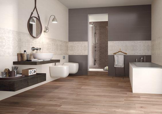 A pavimento di questo bagno la nostra collezione Priv effetto legno Noce httpwwwsupergres