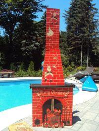 Vintage 1950 Cardboard Fireplace 9' Tall Christmas Santa ...