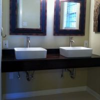Master bath DIY floating vanity with vessel sinks. | Live ...