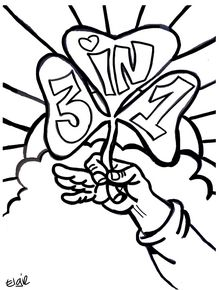 Coloring page for St. Patrick's Day. Clover says