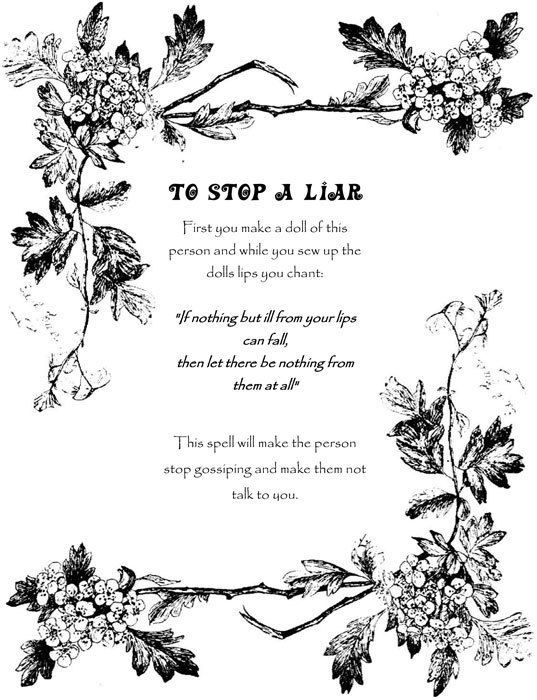 To Stop A Liar (Printable Spell Page)