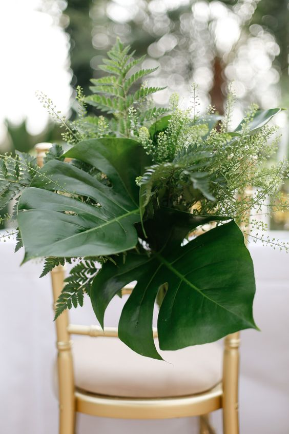 Foliage Chair Decor | Wisley Venue Hire | Botanical Wedding Decor Ideas | Greenery | Amy Fanton Photography | http://www.rockmywedding.co.uk/greenery-wedding-decor/: