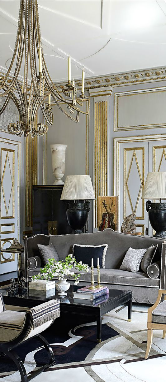 Beautiful Interior In Hollywood Regency Style Black And