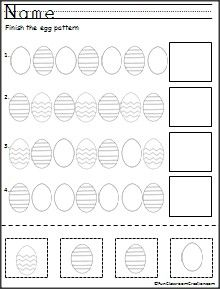 Here's a free cut and paste pattern activity for Easter