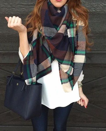#fall #fashion / plaid + white knit: