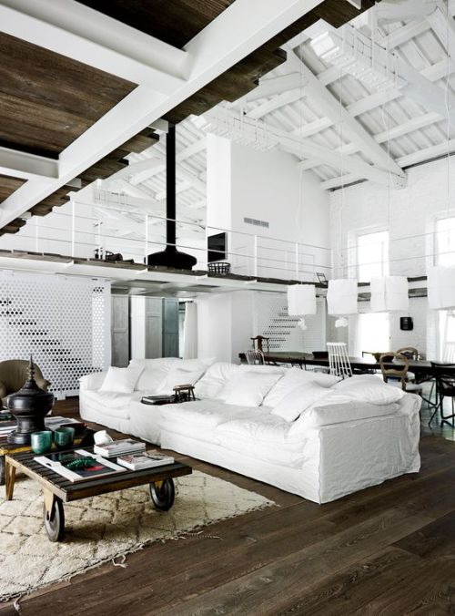 Decor Styles Italy Industrial Metal and Silk Living Room with Exposed Beams and Pipes