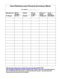 Printable Gun Inventory Form | firearm inventory sheet by ...