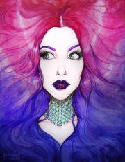 girl pink purple & blue hair vibrant