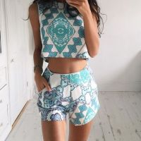 Tumblr fashion, two piece set: crop top and shorts ...