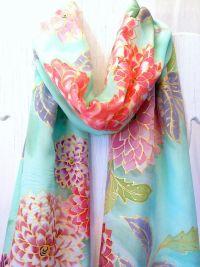 Hand Painted Silk Scarf Fringes. Kimono Japanese Scarf