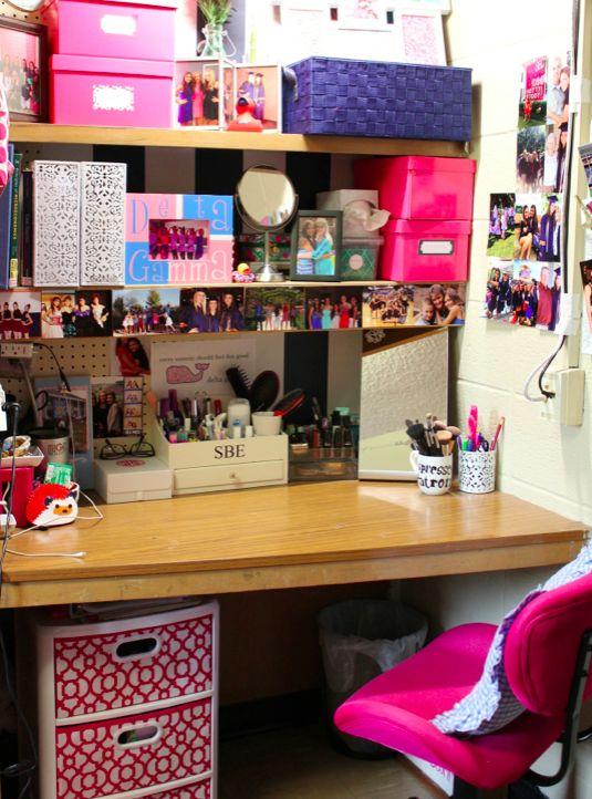 College dorm desk organization  ThePreppyU  Pinterest