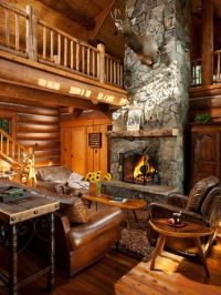 Log cabin homes, Game tables and Fireplaces on Pinterest