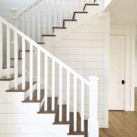 Shiplap stairs. White Oak flooring. Kara Hebert Interiors ...