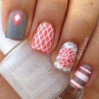 White nail art, Nail art and Gray nails on Pinterest