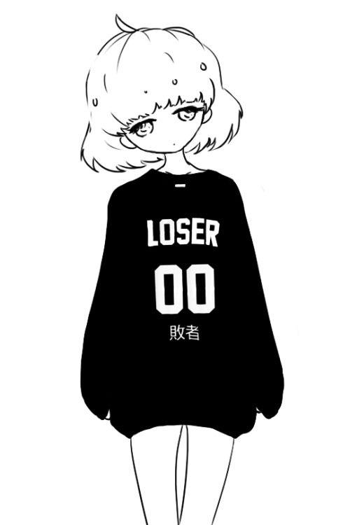 cute Black and White kawaii My art monochrome Anime girl