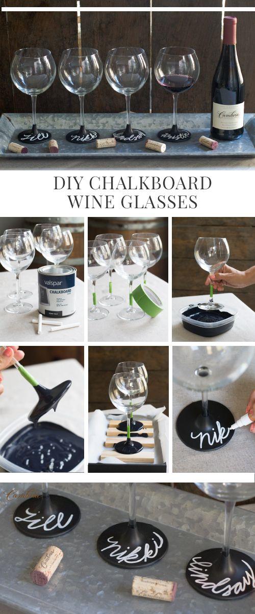 DIY Chalkboard Wine Glasses
