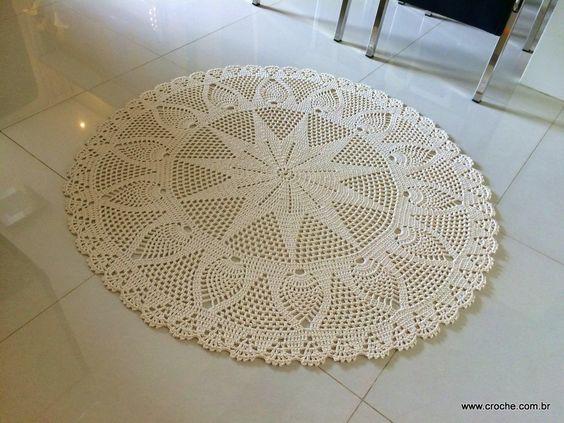 Tapete redondo com flor GIRASSOL   Croche.com.br: