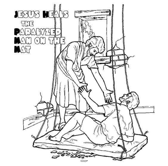 Coloring page of Jesus' healing of the paralytic on a mat