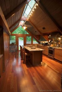 Vaulted ceiling lighting, Window and Wood cabins on Pinterest