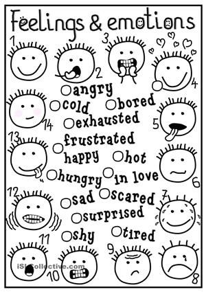A simple matching exercise to practise feelings and