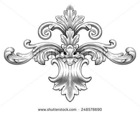 Vintage baroque frame leaf scroll floral ornament