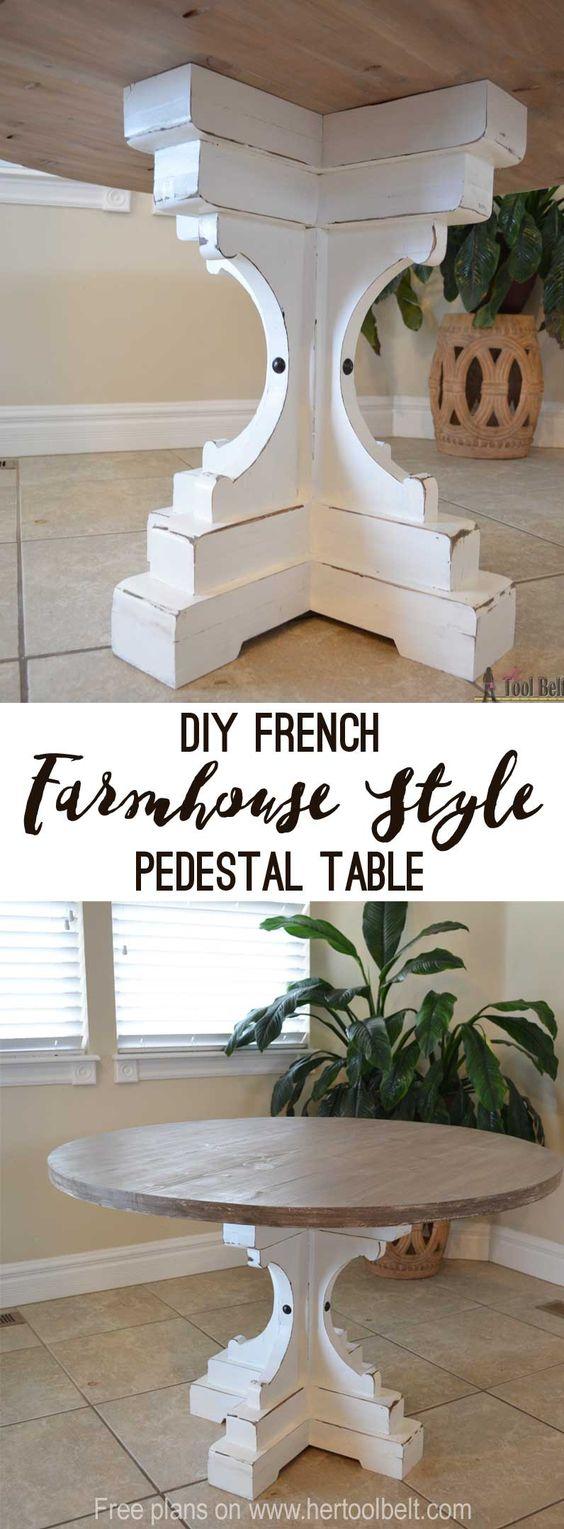 round pedestal kitchen table pub farmhouse style | pedestal, french ...
