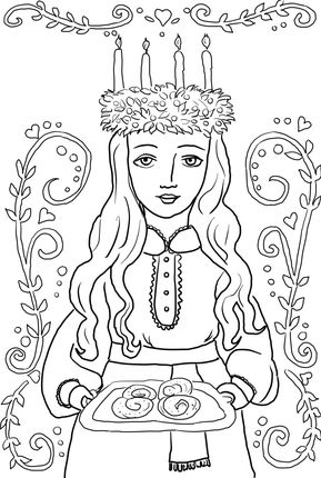 Click St. Lucia Ornament Coloring page for printable