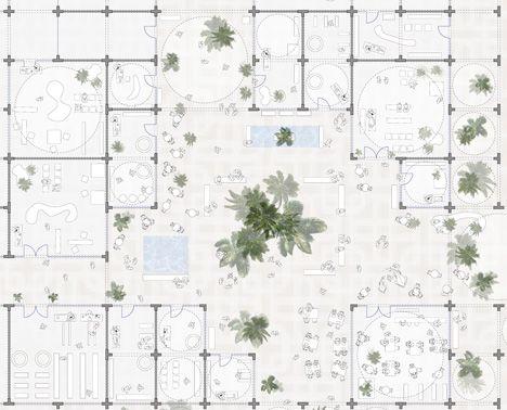 Floor plan of Sou Fujimoto designs masterplan made from