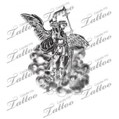 Marketplace Tattoo Warrior Angel Saint Michael #9613